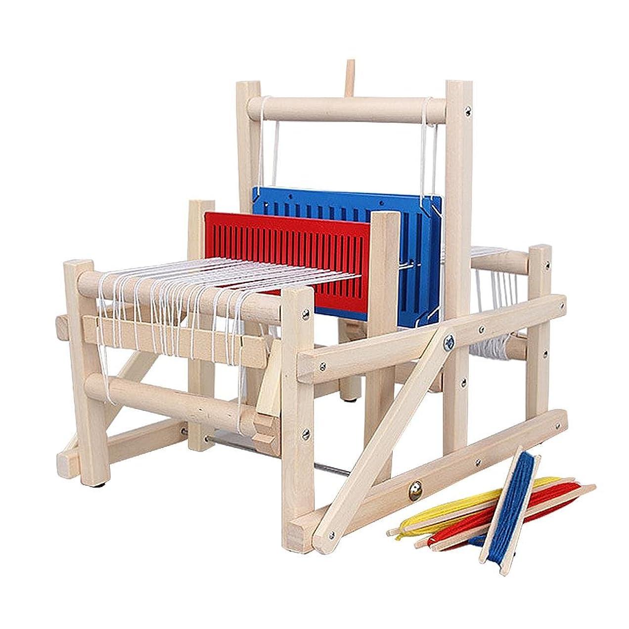 ジャンクション懸念コンピューター手織り機 LUERME 卓上手織機 編み機 DIY 木製 手織り機 子供用 織機 玩具 はたおりき 卓上織り機 糸付き 扱いやすい 簡単