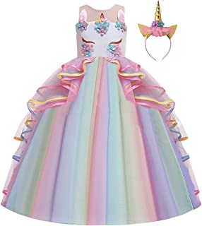 IZKIZF Girls Unicorn Costume Princess Long Maxi Tulle Dress w/Headband Birthday Party Carnival Cosplay Dress Up Outfits