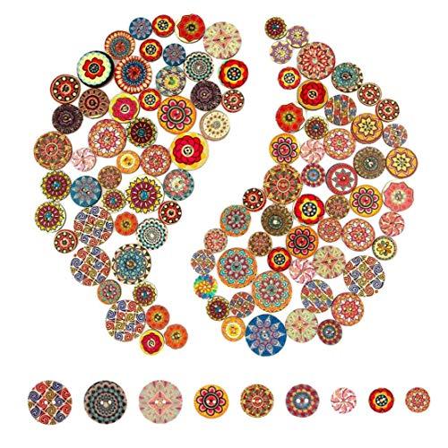 TOPofly Arte de Madera Botones, 100pcs Mixta Pintura de la Flor Redonda Formas Botones de Madera de Costura DIY Redondo Decorativo Pintado Colorido Retro 2 Agujeros Naturales Hechos a Mano Artes