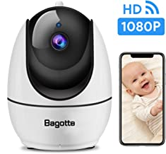 WiFi Camera, Bagotte 1080P FHD Home Security Camera with Super IR Night Vision, 2-Way Audio, Motion Detection, Pan/Tilt/Zoom Pet Camera for Baby/Elder/Nanny