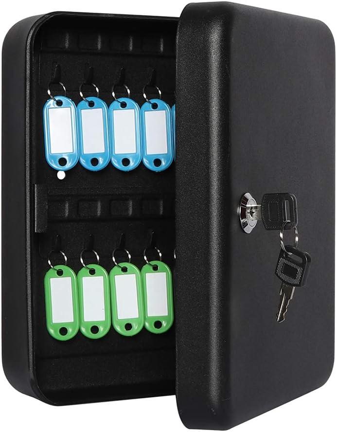 Jssmst Key Storage Lock Box Locking Key Cabinet Wall Mount with Key Hooks /& Tags Key Labels