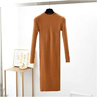 WITKEY1 Winter Sweater Dress Women Thick Warm Knitted Slim Dresses Knee Length Sweater Midi Dress