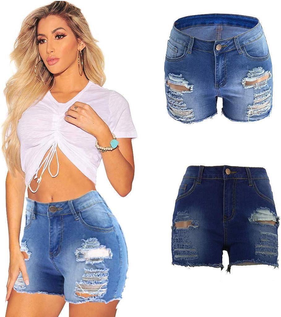 FIRERO Women High Waist Hole Fashion Casual Skinny Jeans High Waist Hole Denim Female Hot Shorts
