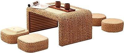 PENGJIE Table Basse Table Basse pour Rebord De FenêTre, Seuil, Paille, Rotin Table d'appoint