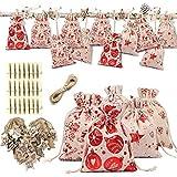 Queta Calendrier de l'Avent Kit d'artisanat Calendrier de Noël 24 Pochettes Cadeaux Sacs à Cordon pour Noël