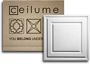 Ceilume 12 pc Stratford Ultra-Thin Feather-Light 2x2 Lay in Ceiling Tiles - for Use in 1