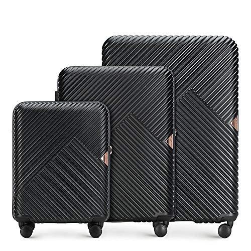 Stabiler Reisekoffer Koffer-Set Trolley von Wittchen Material polycarbonat 8 Lenkrollen Zahlenschloss 10,2KG Farbe Schwarz