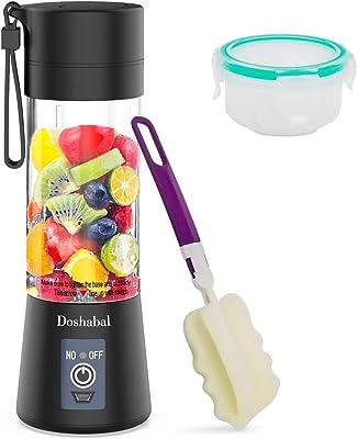Doshabal Portable Blender, Personal Mixer Fruit Rechargeable with USB, Mini Blender for Smoothie, Fruit Juice(Black)