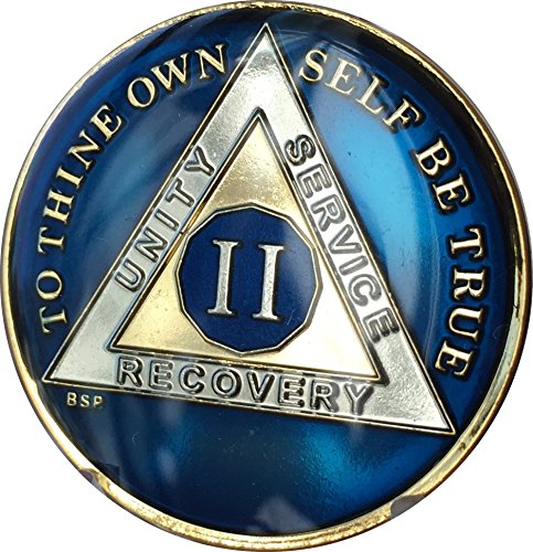 Bright Star Press 2 Year Midnight Blue AA Alcoholics Anonymous Sobriety Medallion Chip Tri Plate Gold & Nickel Plated Serenity Prayer