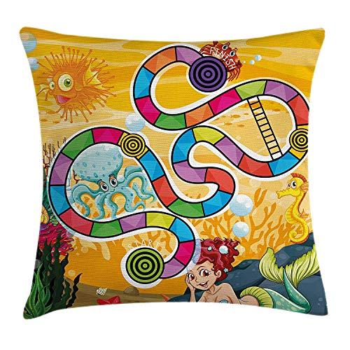 Bordspel gooien kussen kussensloop, Fantastische Aquatische Concept zeemeermin Octopus zeepaardje Bubble Fish Coral Reef Fun, Decoratieve vierkante Accent kussensloop, 18 X 18 inch, Multi kleuren