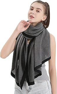 Ushiny - Sciarpa classica da donna, scialle in fibra di lino, morbida sciarpa in pashmina, alla moda, colore: grigio