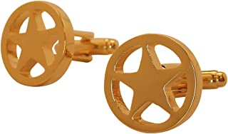 Executive Men's Cufflinks Gold Shiny Tone West Texas Lone Star Cuff Links