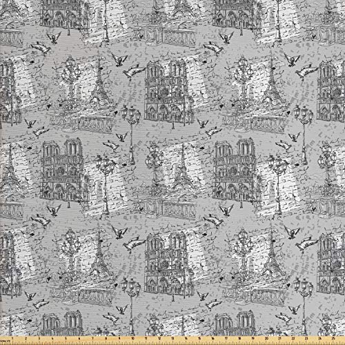 Ambesonne Paris Fabric by The Yard, Vintage Monochrome Image Seine River Notre Dame Doves Scenes from Europe, Decorative Fabric for Upholstery and Home Accents, 1 Yard, Black White