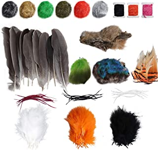 Dr.Fish Fly Tying Materials Kit for Fly Fishing, Fly Making Peacock Feathers Turkey Marabou Dubbings Chenille Hackle Furs ...