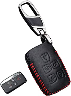 Genuine Leather fob Key Cover for Land Rover Accessories Keychain fit Range Rover Sport Discovery 2 3 4 Freelander Evoque Key Chain case Holder Shell Bag (5buttons)