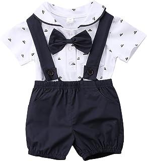 764f578b0 Annvivi Baby Boy Summer Cotton Bowtie Gentleman Short Sleeve Bowtie Romper+Suspenders  Shorts Outfit Set