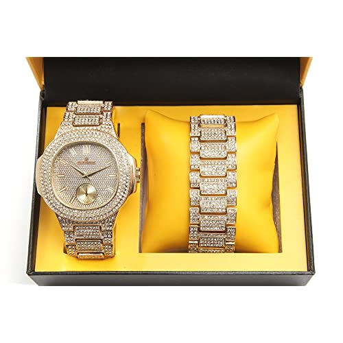 Bling-ed Out Oblong Case Metal Mens Watch w/Matching Bling-ed Out