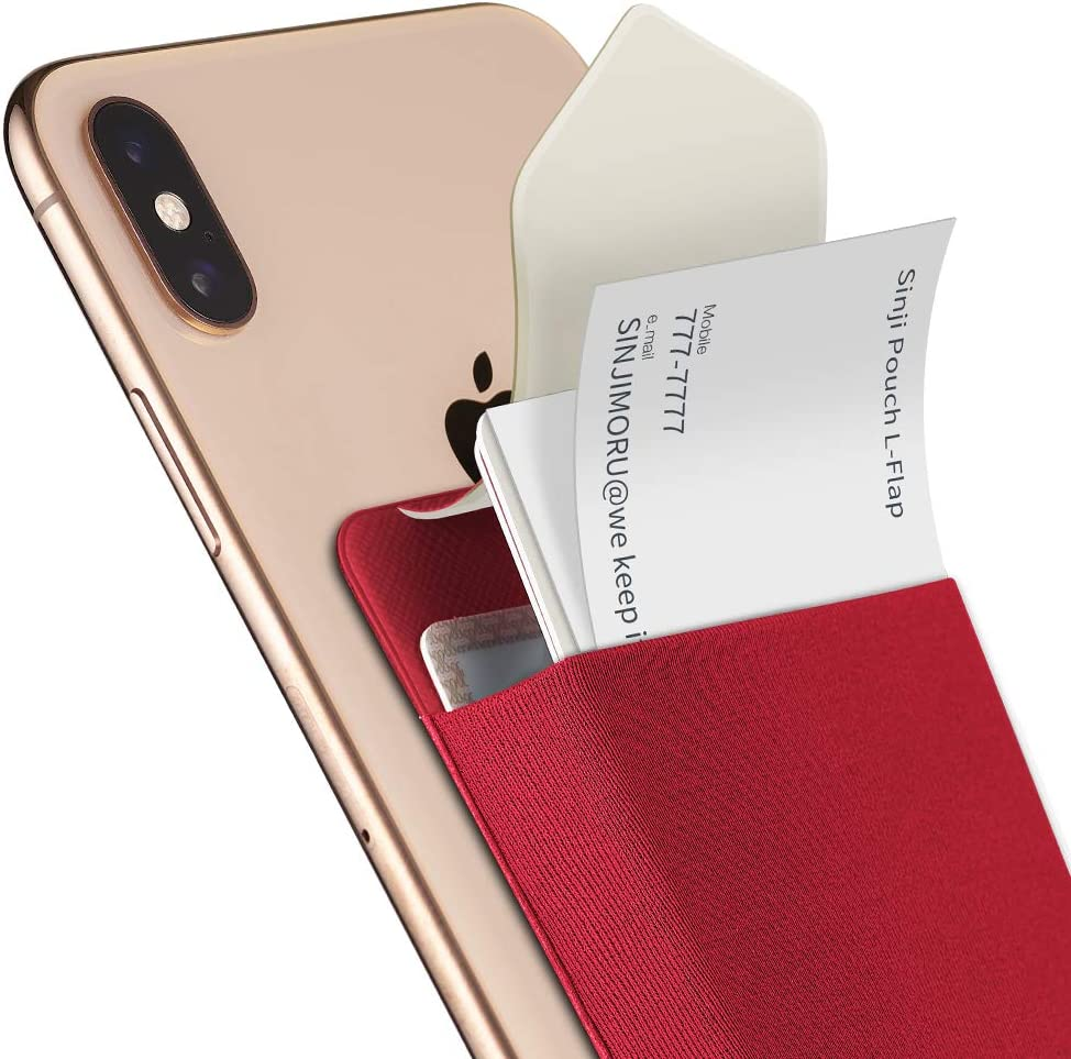 Sinjimoru Business Card Holder for Back of Phone, Reusable iPhone Stick on Wallet, Credit Card Holder for Smartphone. Sinji Pouch L-Flap, Red