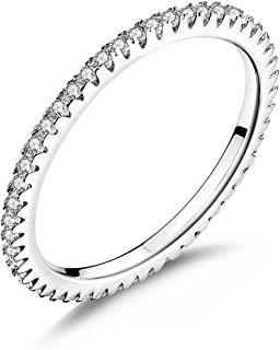 WOSTU 1.5MM Thin Band Eternity Rings 925 Sterling Silver Cubic Zirconia Engagement Wedding Rings Round Stackable Rings Love Xmas Gifts for Women