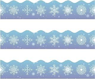Snowflake Bulletin Borders Stickers, 50 ft Christmas/Winter Decoration Borders for Bulletin Board/Black Board/Chalkboard/Whiteboard Trim, Teacher/Student Use for Holiday Classroom/School Decoration
