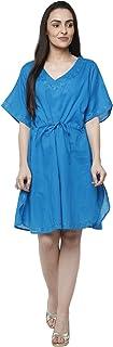 SKAVIJ Women's Tunic Cotton Short Caftan Embroidered Dress (Free Size)