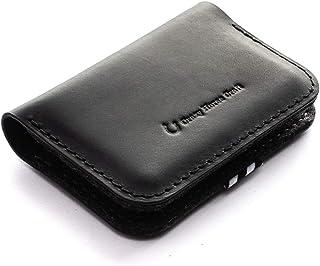 Schwarz Leder Business Geldbörse/Kartenhalter Carbon Black handgefertigter Kartenhalter minimalistisch schlankes Italienis...