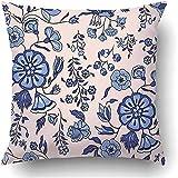 N\A Cojines Fundas de cojín Azul Floral Patrón Oriental Flores Persa Indio Oriental Exótico Este gráfico Vintage Poliéster Pulgadas Cuadrado Cremallera Oculta Funda de Almohada Decorativa