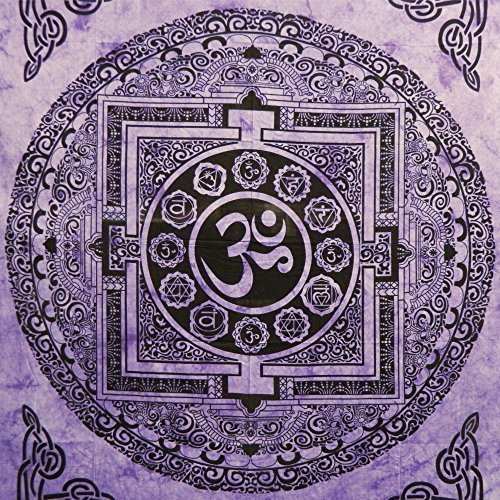 indischerbasar.de Tagesdecke Om Mandala violett Baumwolle Wandbehang Dekoration