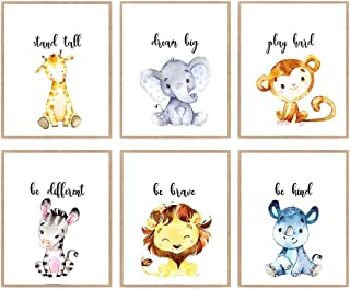 Set of 6 Watercolor Safari Animal Prints, Motivation Nursery Poster, Stand Tall Be Brave Wall Decor 8x10 Unframed