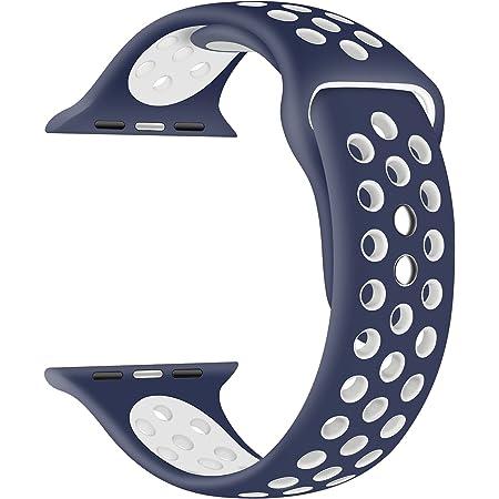 EWENYS - Correa para Apple Watch, compatible con Apple Watch SE, IWatch Serie 6, 5, 4, 3, 2, 1, 42 mm, 44 mm, correa de silicona Nike Sport