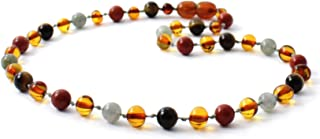 Baltic Amber Teething Necklace Made with Gemstone Beads - Size 14.2 inches (36 cm) - Polished Cognac Amber Beads - BoutiqueAmber (14.2 inches, Cognac/Gemstones)
