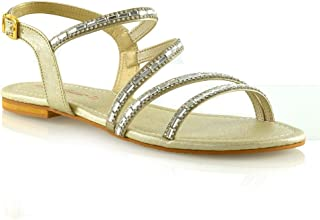 b8b411931 Womens Strappy Flat Sandals Ladies T-Bar Embellished Diamante Sparkly Shoes  Size