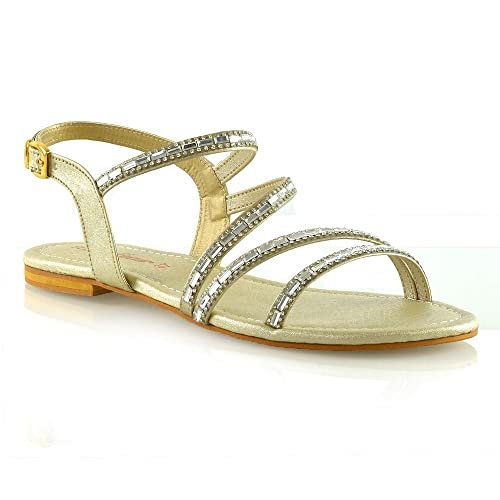 593a99158201 Womens Strappy Flat Sandals Ladies T-Bar Embellished Diamante Sparkly Shoes  Size