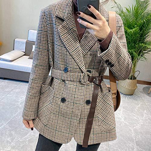 YRFDM Manteau,2020 Printemps Femmes Blazers Ceintures Vestes crantées survêtement Angleterre Style OL Vintage Plaid Blazer Manteau, Plaid, L