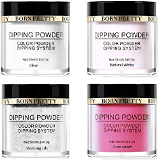 Born Pretty Dip Dipping Powder Clear White Silver Glitter Red Quick Dry Nail Art System (Combo of 4)