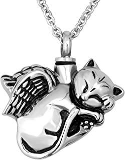 SexyMandala Lovely Cat Angel Animal Stainless Steel Cremation Jewelry Pet Memorial Urn Necklace Hold Ashes