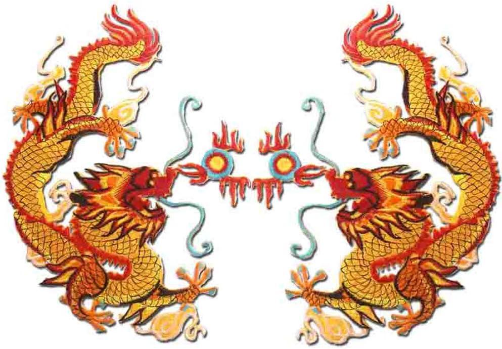 Decorative Max 63% OFF Patches Delicate Embroidered Dragon Em Bargain sale 2 Pcs