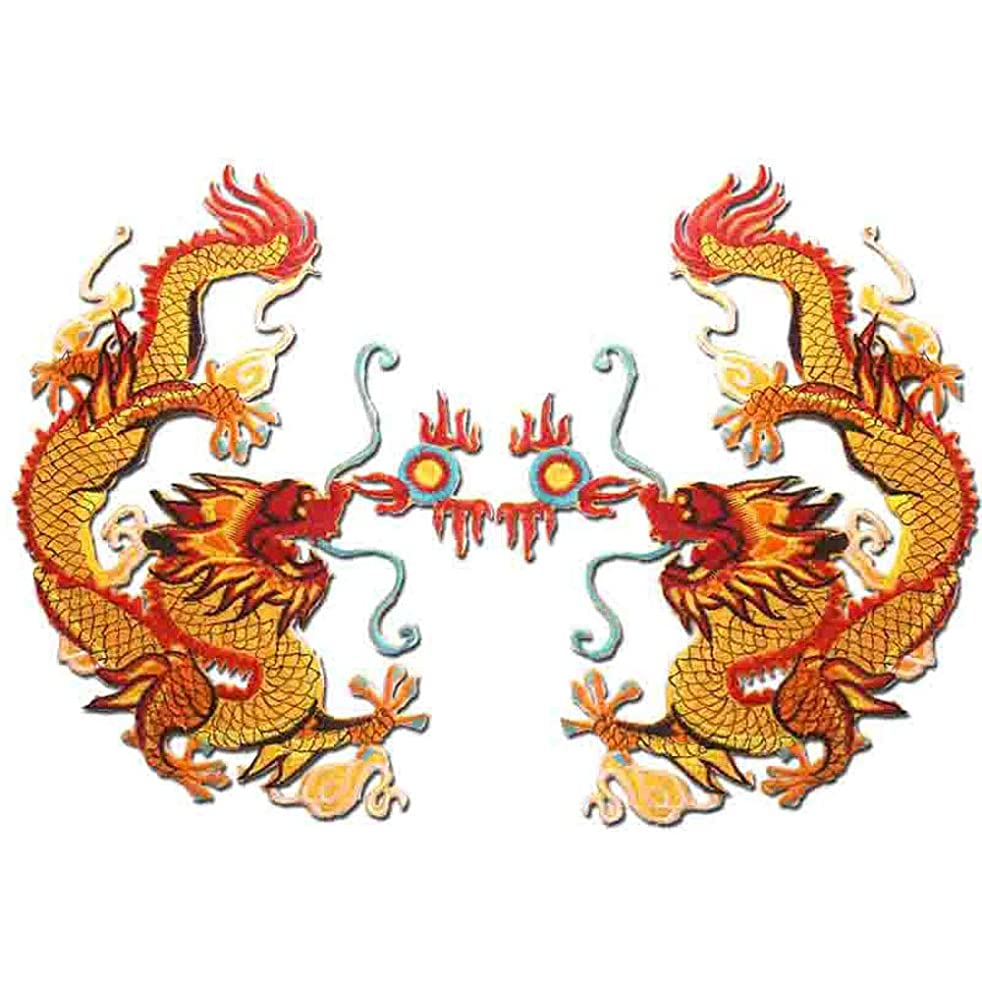 Embroidered Applique Cloth Garment DIY Decoration 1 Pair Chinese Gold Dragon Embroidery Appliques Sew Iron on Patches Clothes Decorative DIY Patch