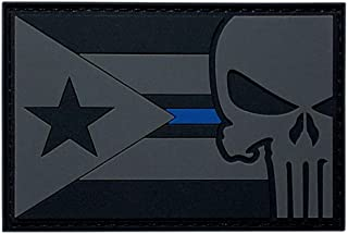Puerto Rico Flag Punisher Thin Blue Line Police Patch [3D-PVC Rubber-3.0 X 2.0 inch -P8]