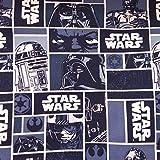Baumwollstoff mit Star-Wars-Charakteren, marineblau, pro