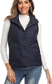 Women's Lightweight Quilted Stand Collar Padded Vest Gilet with Pockets
