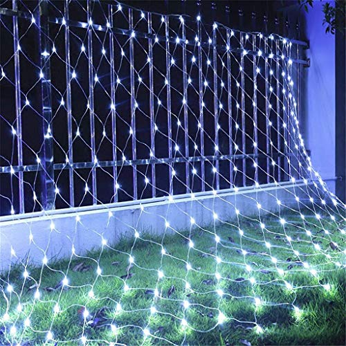 JRAVELR Luces De Red Seguras Luz De Hadas Decoración Navideña Al Aire Libre Cadena De Luz Impermeable para Bodas Fiesta De Cumpleaños Jardín 8 Modo White 2x2m