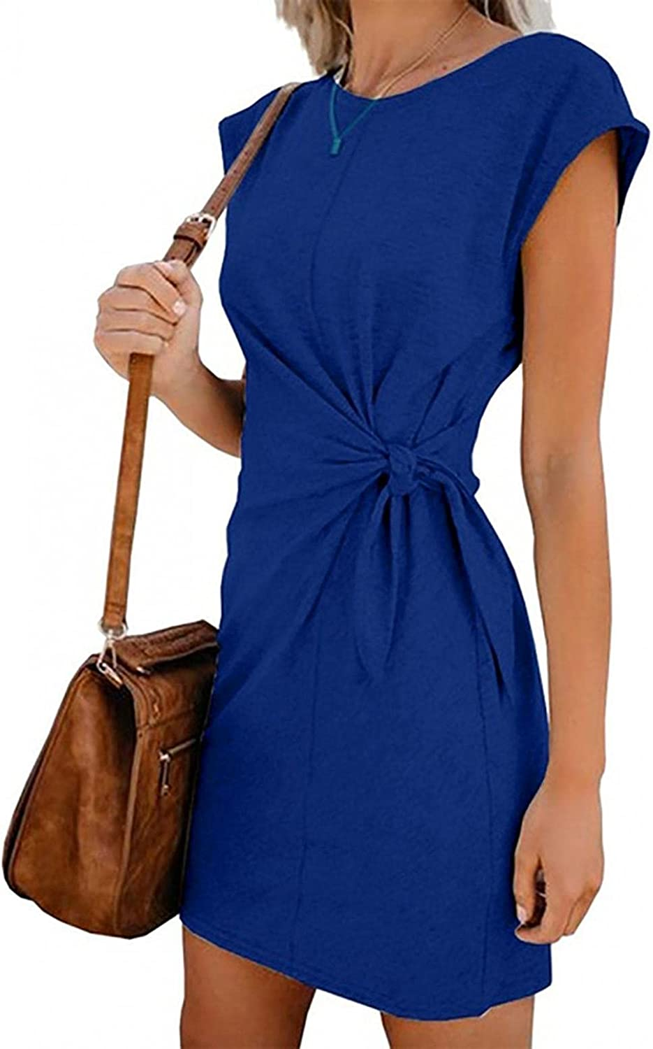 Gillberry Womens Round Neck Casual Short Sleeve Dress with Pocket Wear to Stretchy Work Office Bodycon Dresses
