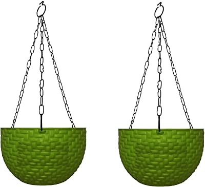 Pankaj Nursery Round Hanging Pot Coral Plastic Green Color with Metal Chain Black - Pack of 2