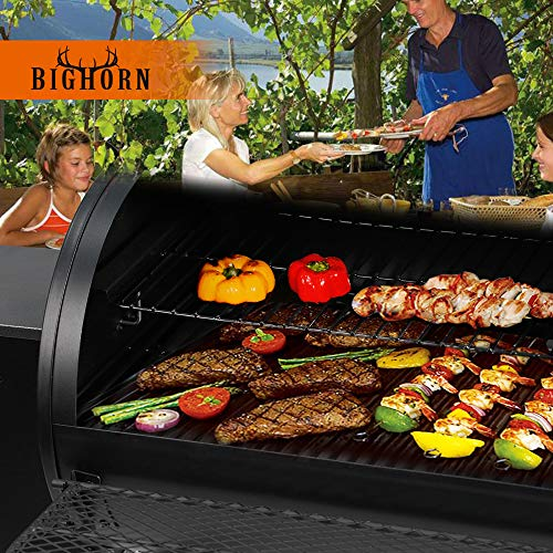 BIG HORN OUTDOORS Pellet Grill and Smoker, 700 Sq. in. Cooking Area with Digital Auto Temperature Control and Temperature Gauge