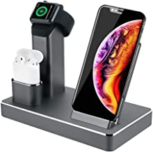 ZIKU Wireless Charger.6 in 1 Aluminum Alloy 80W 14A 5-Port USB Wireless Charging Stand Station Dock for Airpods/Apple Watch 5/4/3/2/1 iPhone 11 Pro Max/X/XS/XR/Xs Max/8/8 Plus-Built-in Adapter (Gray)