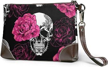 GLGFashion Sac à main en cuir pour femme Skulls-Flowers Women's Leather Wristlet Clutch Purses Portable Makeup Cosmetic B