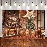 Fondali per servizi fotografici Priorità bassa di natale della decorazione della candela del regalo di scintillio del camino dell'albero di Natale di inverno Fondali per feste fotografiche F