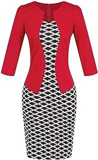 Women Dresses !Colorblock Plaid Wear to Work Business Party Bodycon One-Piece Sash Dress Teresamoo