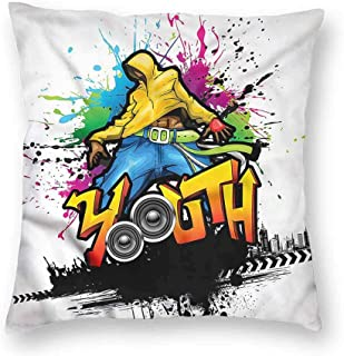 Youth Simple Pillowcase Young Man Hip Hop Culture CushionW12 x L12